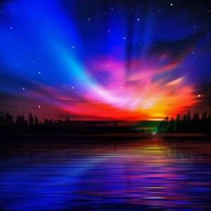 Aurora Borealis and Sunset